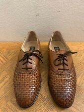 brass boot Woven Brown Oxford Lace Up Men's Shoes Size 7.5 M Made In Italy