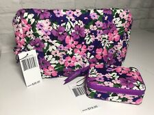 Vera Bradley Set Large Cosmetic Zip Case and Travel Pill Case Flower Garden Nwt