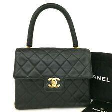 CHANEL Quilted Matelasse CC Logo Lambskin Hand Bag Black /20116