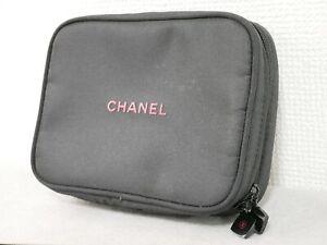CHANEL Parfums Black Zip Pouch Makeup Bag Mini Bag #4458P