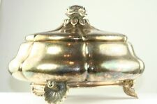 Vtg Antique Hand Wrought 800 Sterling Silver Covered Candy Bon Bon Hinged Box