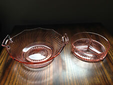 Pink Depression Vintage Bowl With Handles Swirl Pattern/ Candy Dish