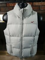 Hollister Goose Down Puffer Puffy Vest Womens Size Large Gray Full Zip EUC