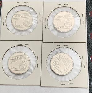 4 Aruba Florin Coins - Circulated . Queen Beatrix & King Willem Alexander