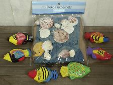 Deko Fischernetz 1x1,5m blau mit Muscheln und 6 bunten Fischen (N)