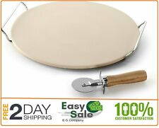 Pizza Stone Set Round Baking Rack Serving Tray Brick Oven Pizzas Home W Cutter