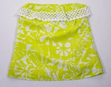 Trina Turk Yellow White Floral Print Lined Strapless Women's Tube Blouse Size P