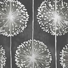 Dandelion Flower Wallpaper Black Metallic Grey Floral Leaf Paisley Nature