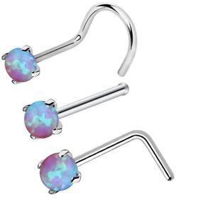 3Pcs 316L Surgical Steel Nose Stud Opal Gem Nostril Srew Twist L-shape Nose Ring