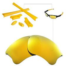 New Walleva Polarized 24K Gold Lenses And Rubber Kit For Oakley Flak Jacket XLJ