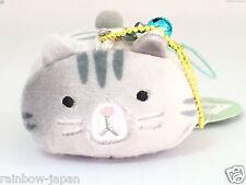 Japanese Mochimochi Cat Mascot Gray JAPAN Cute Key Charm Cellphone Strap