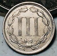 1867 Three Cent Nickel Piece Coin 3C High Grade CHOICE Civil War US Coin CC5873