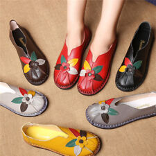 Women Genuine Leather Boat Shoes Ladies Soft Sole Comfort Round Toe Flat Loafers