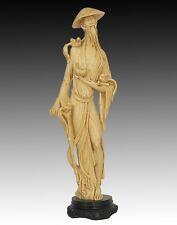 Vintage Oriental Chinese Men Holding Birds Hand Carved Resin Figurine 19''