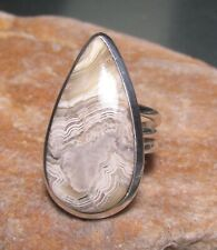 925 sterling silver Laguna lace agate tall ring UK K/US 5.25-5.5. Gift bag.