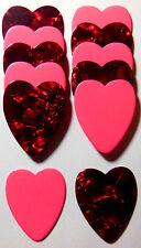 12pk Valentines Heart Shaped Guitar Picks .71mm Celluloid Medium Mixed Colors