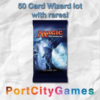 50 Card Wizard lot Magic MTG w/ Rares + FREE bonus Rares & Booster Packs!
