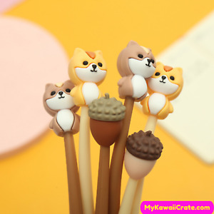 Kawaii Squirrels Acorn Soft Silicone Gel Pens 3 Pc Set ~ Cute Pens, Squirrel Pen