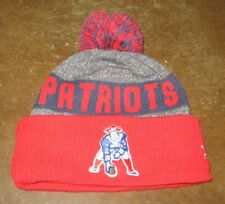 NFL NEW ENGLAND PATRIOTS THROWBACK KNIT CAP HAT BY NEW ERA OSFA  POM GRAY RED