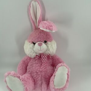 "Dan Dee Collectors Choice Pink Easter Bunny Rabbit Polka Dot Ribbon 25"" Plush"