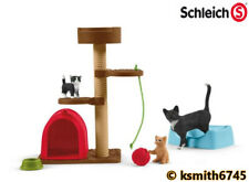 Schleich CAT SET solid plastic toy farm pet playtime animal bowl kitten NEW 💥