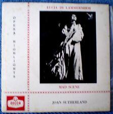 """JOAN SUTHERLAND-LUCIA DI LAMMERMOOR MAD SCENE CEP-614 """"RARE OZ"""" EP 45 RPM"""
