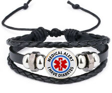 Creative Medical Alert I have Diabetes Leather Photo Glass Noosa Snap Bracelet