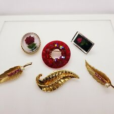Vintage Gold Tone Lucite Red Rose Brooch Signed Coro 5 other items