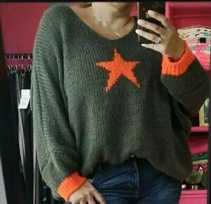 AUTUMN KHAKI/ORANGE STAR MOHAIR BLEND knit Batwing V-Neck JUMPER 10/12-18/20