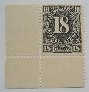 Mint 1894 Hawaii Kahului Railroad Maui 18 cent Corner Margin Selvege stamp MNG