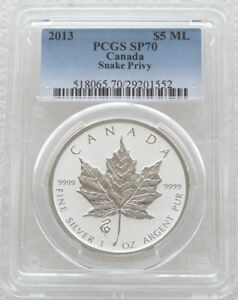 2013 Canada Maple Snake Privy $5 Dollar Silver Reverse Proof 1oz Coin PCGS SP70