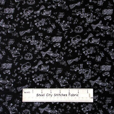 RJR Bare Essentials Sewing Notion Toss Thread Buttons Black  Cotton Fabric YARD