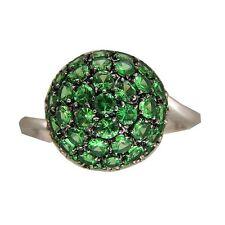 Vintage Round 3.23ct Tsavorite Green Garnet 18k White Gold Cluster Dome Ring