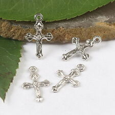 75pcs dull silver tone free cross charms findings h1766