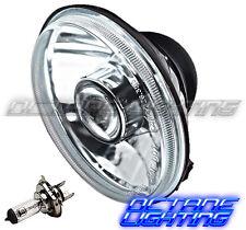 "5-3/4"" Motorcycle Clear Halogen Headlight Metal Headlamp 6V 35/35w H4 Light Bulb"