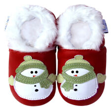 Soft Sole Leather Baby Infant Kid Infant Kids Boy Girl Snowman Red Shoes 0-6M