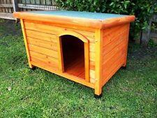 DOG KENNEL Wooden Asphalt Flat Roof Dog Pet Pup House SMALL/MED Cabin