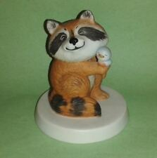 RACCOON + CHICK Sunny Animals Porcelain Figurine by R.O.C. Heartline