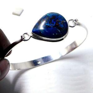 Raw Shattuckite 925 Sterling Silver Plated Handmade Jewelry Bangle 16 Gm-BG33