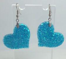 Blue Fancy Large Heart Holo Glitter Charms Earrings E100 Kitsch Fun 5.5cm Long