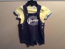Baby Boys GUESS Jean Overalls Shorts Outfit Set Yellow Shirt  Size 6/9 Months
