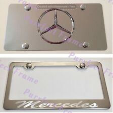 """""""Mercedes"""" Incursive Stainless License Frame & Mirror Plate Rust Free"""