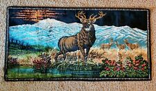 """Vintage 1950's Deer Buck Tapestry Rug Wall Hanging Collectible - 38"""" x 19"""""""