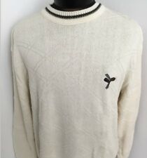 Vintage Carmel Sweater Pullover Golf Crewneck Cotton Knit Embroidered Beige Sz M
