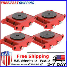 4 PCS 6T Red Industrial Machinery Mover W/Skate Roller 360°Rotation Cap a9