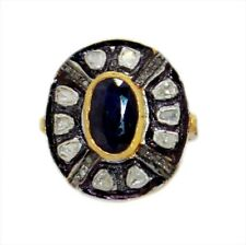 Victorian Style Natural Sapphire Diamond Ring 925 Silver Antique Rose Cut Uncut