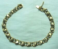 """14K Yellow Gold Charm Bracelet with Hearts 6.8 grams 7 1/4"""""""