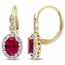Amour 14k Yellow Gold Created Ruby, White Topaz and Diamond Accent Earrings