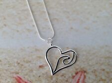 NAUTICAL SILVER PLATED HEART WAVE STERLING SILVER SNAKE CHAIN PENDANT JEWELLERY