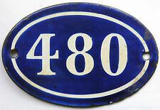 Francés antiguo azul número de casa puerta 480 Puertas Placa Placa Esmalte Acero Metal Sign